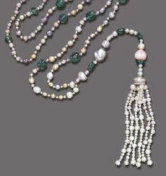 AN ELEGANT ART DECO NATURAL PEARL, CONCH PEARL AND EMERALD SAUTOIR   Composed of a series of multi-color natural pearls, spaced by tumbled emerald beads and smaller natural pearls, the front suspending a detachable pendant of similar design, with a large conch pearl, terminating in a natural pearl tassel, enhanced by rose-cut diamond trim, circa 1920, 39½ ins