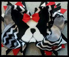 Kylie's custom boston terrier hairbow!!! Made by Phyllis & Elizabeth