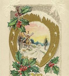 EMBOSSED ANTIQUE CHRISTMAS POSTCARD WINTER WINDMILL AND GOLDEN HORSESHOE AND ACCENTS OF FESTIVE RED AND GREEN HOLLY   This lovely embossed antique Christmas post card is from J Hermann. It features a golden horseshoe with a vignette of a windmill under a fresh blanket of snow and accents of festive red and green holly. The card was postally used and is cancelled but the date is not legible. The image is copyright 1911 and that would about this time this card was posted.    So, you dont…