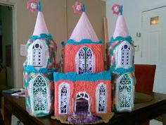 Crochet castle doll house with working drawbridge and bucket pulley elevators