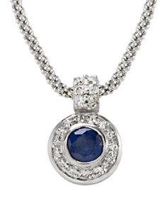 Round Sapphire & Round Diamond Pendant with Fope Chain