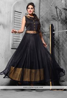 Bewitching Black Color Jute And Net Fabric Designer Salwar Suit