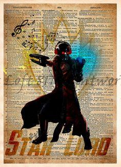 Star Lord art, Guardians of the galaxy wall art, Super hero pop art, Dictionary print art