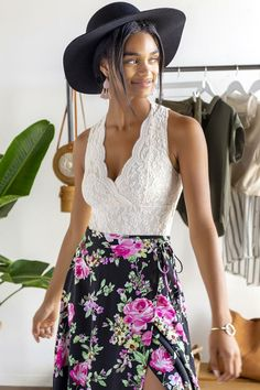 francesca's Lydia Lace Lined Bodysuit - Ivory Lace Bodysuit, White Lace, Midi Skirt, Suits, Fashion, Lace Body, Moda, Midi Skirts, Fashion Styles
