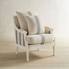 What's old is new again, and this Sheraton-style Parlor Chair from the Magnolia Home Collection by Joanna Gaines is built for today with sturdiness and comfort in its solid wood frame and thick cushions. Scaled to fit almost anywhere, its neoclassical trim comes finished in white, with a bold onyx-striped cotton/polyester cover of natural grain sack fabric.
