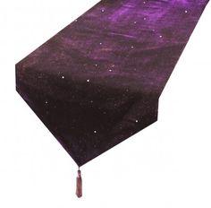 Purple Starry Night Sparkle Velvet Bling Table Runner With Tassels 13″ x 72″