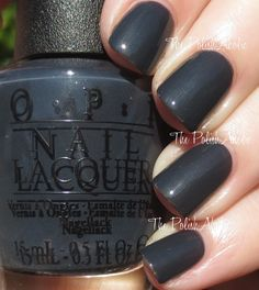 OPI Fifty Shades of Grey Collection. Dark Side Of The Mood is a dark grey with blue undertones and a very slight pearl shimmer. The shimmer in this is very very subtle, it's hardly visible even in direct sunlight. The formula was good, it was a touch sheer on the 1st coat but it built fairly easily and was opaque in 2 coats.