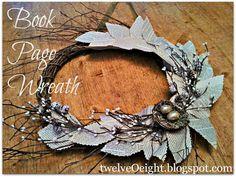 Twiggy Book Page Wreath