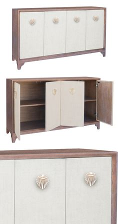 Japan is the inspiration for this design. Combining  minimal elegance with a few delicate touches of brass in a fan motif. With some subtle curves that soften its angular frame, this piece offers a gen...  Find the Osaka Credenza, as seen in the Glamping in the Tropics Collection at http://dotandbo.com/collections/glamping-in-the-tropics?utm_source=pinterest&utm_medium=organic&db_sku=125307