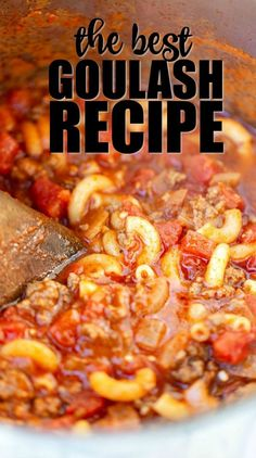 American Goulash Crock Pot Recipes are so easy to prepare. Try this easy Crockpot Goulash Recipe for a meal full of hearty ground beef, pasta and more. Slow Cooker Goulash Recipes, Best Goulash Recipes, Recipe For Goulash, Goulash Recipe With Tomato Juice, Classic Goulash Recipe, Ground Beef Recipes For Dinner, Easy Dinner Recipes, Appetizer Recipes, Comfort Food