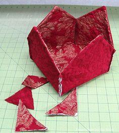 Trim off corners of fabric basket