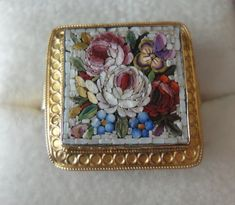 Micro Mosaic ring and brooch set in 18K yellow gold | Collectors ...