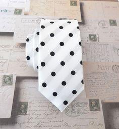 Necktie White Black Dot Mens Skinny Tie by TieObsessed on Etsy https://www.etsy.com/listing/175497072/necktie-white-black-dot-mens-skinny-tie