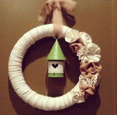 Burlap and scrap fabric wreath