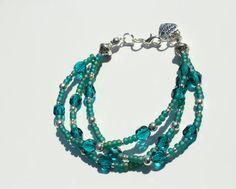 Teal Bracelet Multi Strand Bracelet Crystal by PinkBeading on Etsy, £15.00