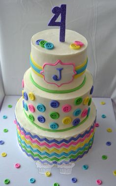 Buttons and Chevrons Cake