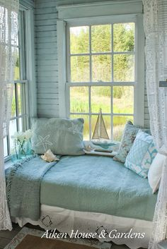 Aiken House & Gardens: The Summer Boathouse ~ dreamy window seat or nap area for a beach house.