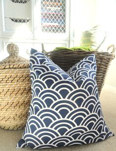 Blue Scallop Pillow Cover - 18 x 18 - Decorative Pillow - Blue and White