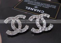 latest Vintage Chanel double C diamond studs earrings shop