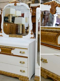 Retro dresser painted white with exposed natural wood details
