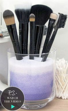DIY Ombre makeup brush holder
