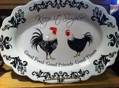 Love this rooster/chicken platter I bought at the Cracker Barrel store. I'm redoing my kitchen in red, black and white; and my husband loves chickens so it's a win/win for everyone :-)