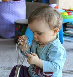Exploring the Kitchen by funathomewithkids: From a baby's point of view, how weird is a whisk, right? #Babies #Discovery