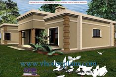 House Design Pictures, Small House Design, Modern House Design, Flat Roof House, House With Porch, Building Costs, Building Plans, Beautiful House Plans, Beautiful Homes