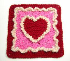 granny square in heart pattern....