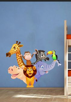 Zoo Animals Kids Children Nursery - Vinyl Wall Decal Full Color Sticker Decor Removable Art Mural www.uBerDecals.ca B282