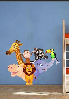 Zoo Animals Kids Children Nursery - Vinyl Wall Decal Full Color Sticker Decor Removable Art Mural www.uBerDecals.ca B282