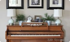 Non painted piano. Love the decor on top from 320 sycamore