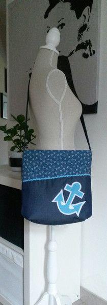 Umhängetaschen - Umhängetasche Marine+Anker - ein Designerstück von thekiti bei DaWanda