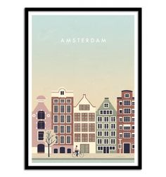 Art Travel Poster. Amsterdam city illustration. Design by Katinka Reinke. Art-Poster and prints published by Wall Editions.