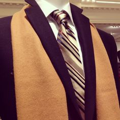 Conquer the winter weather. This Hart Schaffner Marx #coat pairs perfectly with a #scarf and gold #tie.