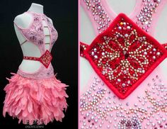 Pink Latin with Red Belt and Pink Goose Feathers on Skirt with Red Organza Underskirt
