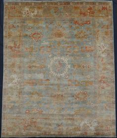 12 x 15 Hand Knotted OUSHAK Oriental Rug Light Blue | eBay