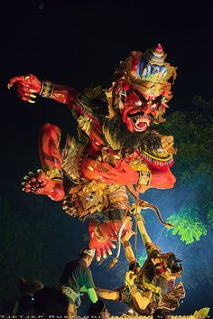 Evil spirit that need to be destroyed by T Ξ Ξ J Ξ on Flickr - Besides taking Rakshasa form, ogoh ogoh is also often symbolized in other forms such as mythological creature like Garuda, dragon, etcetera, and forms of God and Goddess like God Siwa, Ganesha, or Durgha