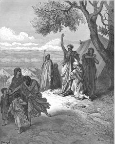 Noah Curses Ham and Canaan (Gen. 9 18-27). Gustave Dore. 1866.