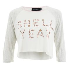 MINKPINK Women's Shell Yeah Crop T-Shirt - Multi ($25) ❤ liked on Polyvore featuring tops, t-shirts, multi, cream crop top, white crew t shirt, white crop top, raglan t shirts and crew-neck tee