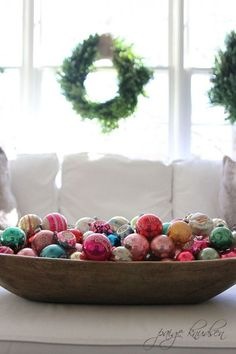 Large wooden bowl of Ornaments in the living room