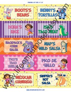 Hey, I found this really awesome Etsy listing at https://www.etsy.com/listing/160960282/dora-the-explorer-birthday-party-food