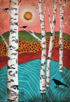 Birches 5x7 inches Birds ORIGINAL Canvas Panel PAINTING Abstract FOLK ART Karla G..NEW, now for sale..