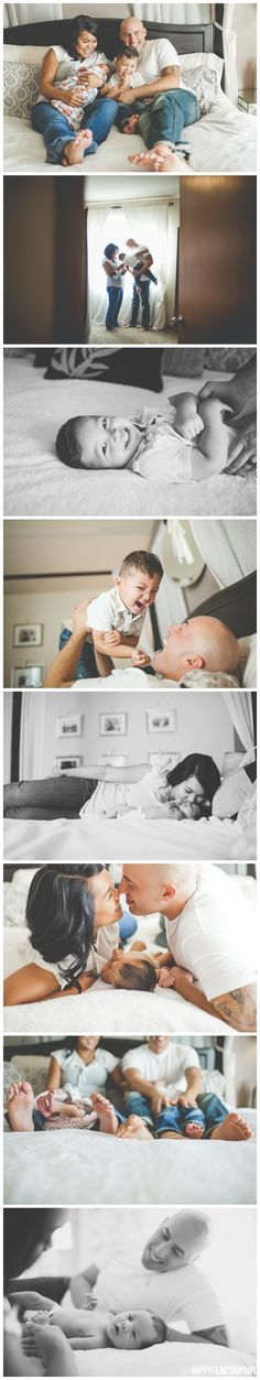 happy family photos are home, family photos on the bed, jeans and white tee shirts family portraits, newborn photography at home, natural newborn photos, Seattle family photography, seattle newborn photographer  check out their blog post: http://www.thehappyfilmcompany.com/blog/natural-seattle-newborn-photography-in-family-bedroom  PHOTOGRAPHY by: the Happy Film Company