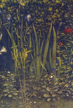 Detail of flowers from the Ghent Altarpiece (containing the Adoration of the Mystic Lamb), begun by Hubert van Eyck (who died in 1426) and completed by his younger brother Jan van Eyck in 1432.