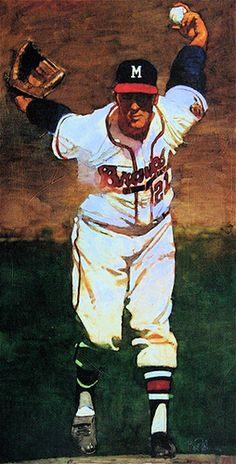 Warren Spahn painting by Bart Forbes