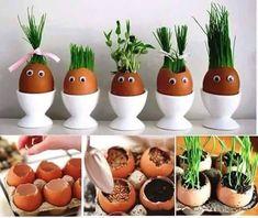 decoration for Easter :) Easter Crafts For Kids, Diy For Kids, Easter Gift For Adults, Funny Eggs, Rabbit Crafts, House Plants Decor, Easter Activities, Planting Vegetables, Plantation