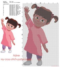 This photo is surely an inspiring and perfect idea Disney Cross Stitch Patterns, Cross Stitch For Kids, Cute Cross Stitch, Beaded Cross Stitch, Cross Stitch Designs, Cross Stitch Embroidery, Monster Co, Disney Quilt, Girl Cartoon