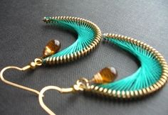 99 Creative Moon Projects - New Moon With Glass drops Earrings (Woven Thread Tutorial)