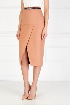 Шерстяная юбка-карандаш I Am  Studio - Классическая юбка-карандаш терракотового цвета сделана из натуральной шерсти в интернет-магазине модной дизайнерской и брендовой одежды